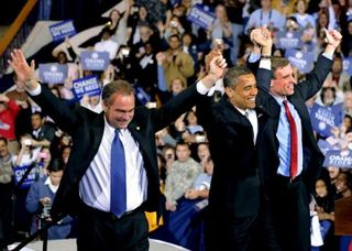 Virginia's Tim Kaine and Mark Warner with Barack Obama.